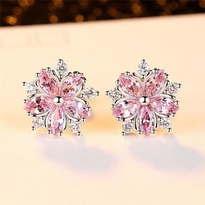 Cute 925 Sterling Silver Pink Topaz earrings